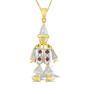 9K Gold Diamond and Ruby Clown Pendant