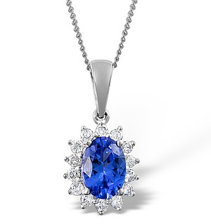 18K White Gold Diamond and Tanzanite Cluster Pendant 0.21ct