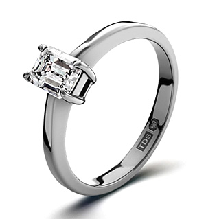 Emerald Cut 18K White Gold Diamond Engagement Ring 0.33CT-G-H/SI
