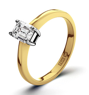 Emerald Cut 18K Gold Diamond Engagement Ring 0.33CT-G-H/SI