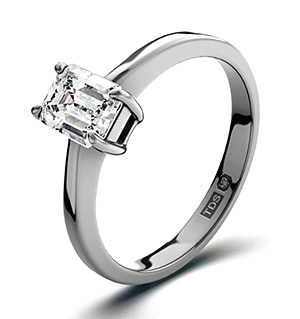 Emerald Cut 18K White Gold Diamond Engagement Ring 0.50CT-G-H/SI
