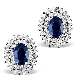 Sapphire 6mm x 4mm And Diamond 9K White Gold Earrings