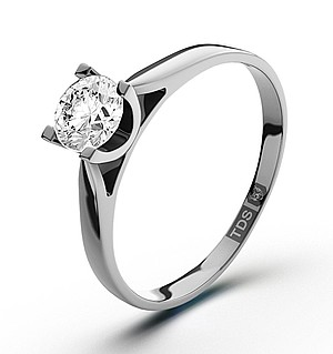 Certified 0.50CT Grace 18K White Gold Engagement Ring H/SI1