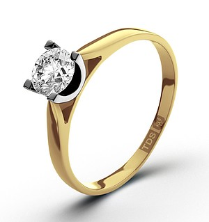 Certified 1.00CT Grace 18K Gold Engagement Ring H/SI2