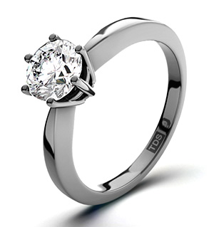 Certified 1.00CT Chloe High 18K White Gold Engagement Ring G/VS1