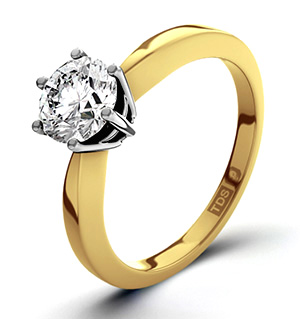Certified 1.00CT Chloe High 18K Gold Engagement Ring H/SI1
