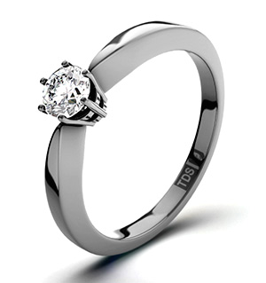 High Set Chloe 18K White Gold Diamond Solitaire Ring 0.25CT-F-G/VS