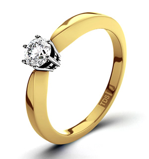 High Set Chloe 18K Gold Diamond Solitaire Ring 0.25CT-F-G/VS