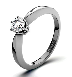High Set Chloe 18K White Gold Diamond Solitaire Ring 0.33CT-G-H/SI