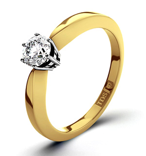 High Set Chloe 18K Gold Diamond Solitaire Ring 0.33CT-G-H/SI