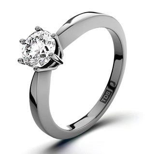 Certified 0.50CT Chloe High 18K White Gold Engagement Ring H/SI1