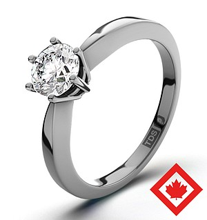 High Set Chloe Platinum Canadian Diamond Ring 0.50CT H/SI1