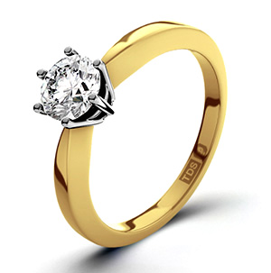Certified 0.50CT Chloe High 18K Gold Engagement Ring G/VS2
