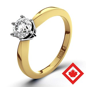 High Set Chloe 18K Gold Canadian Diamond Ring 0.50CT H/SI2