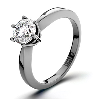 Certified 0.70CT Chloe High 18K White Gold Engagement Ring H/SI2