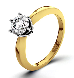 Certified 0.70CT Chloe High 18K Gold Engagement Ring H/SI2