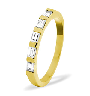 EMERALD CUT 18K Gold Diamond ETERNITY RING 0.50CT H/SI
