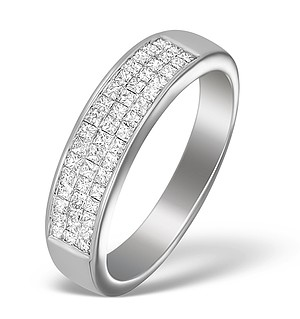 18K White Gold Princess Diamond Half Eternity Ring - N3327