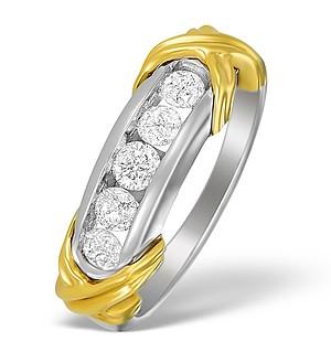 18K Two Tone Diamond Channel Set Ring - N3420
