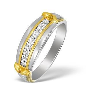 18K Two Tone Gold Diamond Half Band Ring - N3456