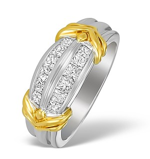 18K Two Tone Diamond Channel Set Ring - N3450