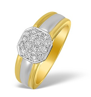 18K Two Tone Diamond Pave Set Ring - N3462