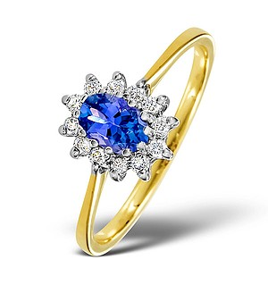 18K Gold Diamond and Tanzanite Ring 0.18ct