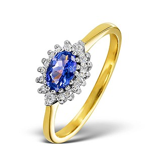 18K Gold Diamond and Tanzanite Ring 0.14ct