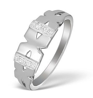 18K White Gold Diamond Kiss Ring - N3409