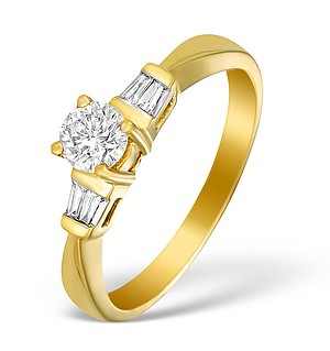 18K Gold Diamond Solitaire Ring with Shoulder Detail - L1349
