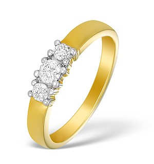 18K Gold Diamond 3 Stone Ring - N3582