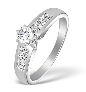 18K White Gold Diamond Solitaire Ring with Shoulder Detail - L1364