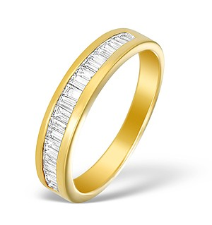 18K Gold Diamond Baguette Half Eternity Ring - N3689
