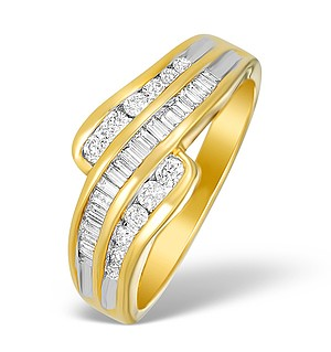 18K Gold Mixed Diamond Ring - N3693