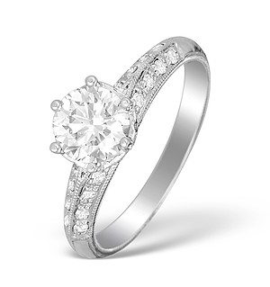 18K White Gold Diamond Solitaire Ring with Shoulder Detail - L1500