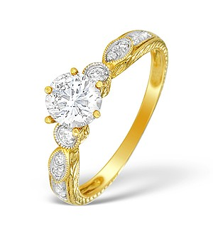 18K Gold Diamond Solitaire Ring with Shoulder Detail - L1508