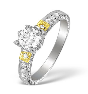 18K White Gold Diamond Solitaire Ring with Shoulder Detail - L1511