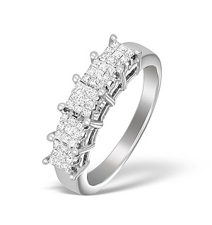 18K White Gold Diamond Half Eternity Cluster Ring - N3754