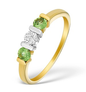 18K Gold Diamond and Tzavoite 3 Stone Ring - N3818