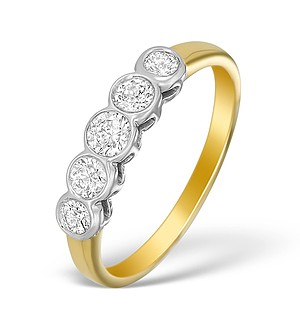 18K Gold Diamond 5 Stone Rubover Ring - N3948
