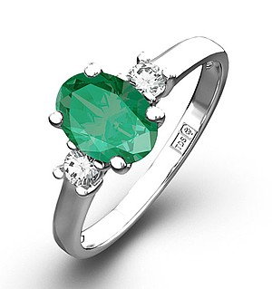 18K White Gold 0.20CT Diamond Emerald Ring 7 x 5mm Oval