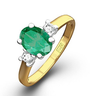 18K Gold 0.20CT Diamond Emerald Ring 7 x 5mm Oval