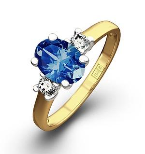 18K Gold 0.20CT Diamond Sapphire Ring 7 x 5mm Oval