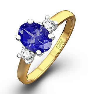 18K Gold 0.20CT Diamond Tanzanite Ring 7 x 5mm Oval