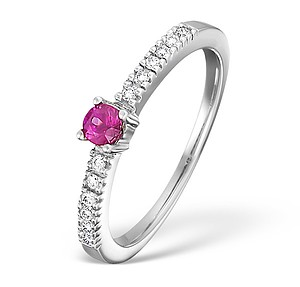 18K White Gold H/Si Diamond and Pink Sapphire Ring