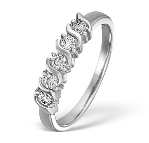 18K White Gold H/Si Diamond Ladies Half Eternity Ring