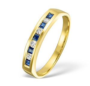 18K Gold H/Si Diamond and Sapphire Half Eternity Ring