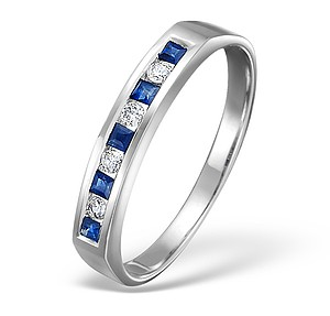 18K White Gold H/Si Diamond and Sapphire Half Eternity Ring