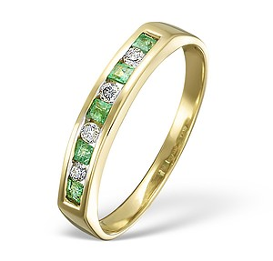 18K Gold H/Si Diamond and Emerald Half Eternity Ring