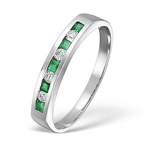 18K White Gold H/Si Diamond and Emerald Half Eternity Ring